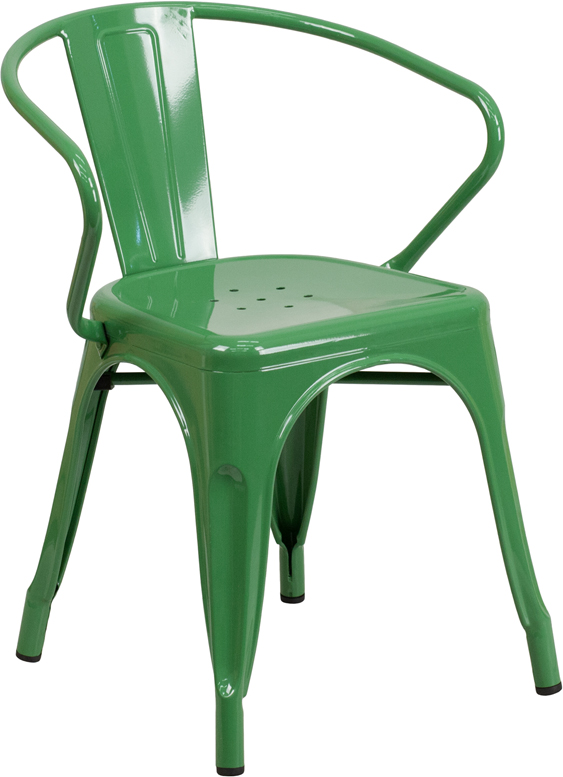 ERGONOMIC HOME Green Metal Indoor-Outdoor Chair with Arms