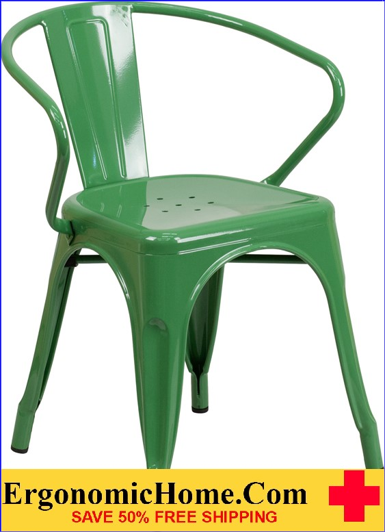 ERGONOMIC HOME Green Metal Indoor-Outdoor Chair with Arms  | <b><font color=green>50% Off Read More Below...</font></b>