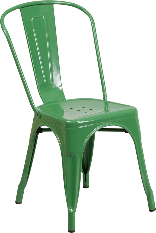 ERGONOMIC HOME Green Metal Indoor-Outdoor Stackable Chair