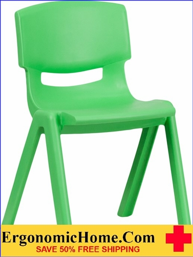 Ergonomic Home Green Plastic Stackable School Chair with 13.25'' Seat Height EH-YU-YCX-004-GREEN-GG <b><font color=green>50% Off Read More Below...</font></b>