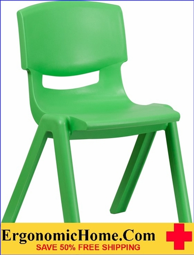 Ergonomic Home Green Plastic Stackable School Chair with 15.5'' Seat Height EH-YU-YCX-005-GREEN-GG <b><font color=green>50% Off Read More Below...</font></b>