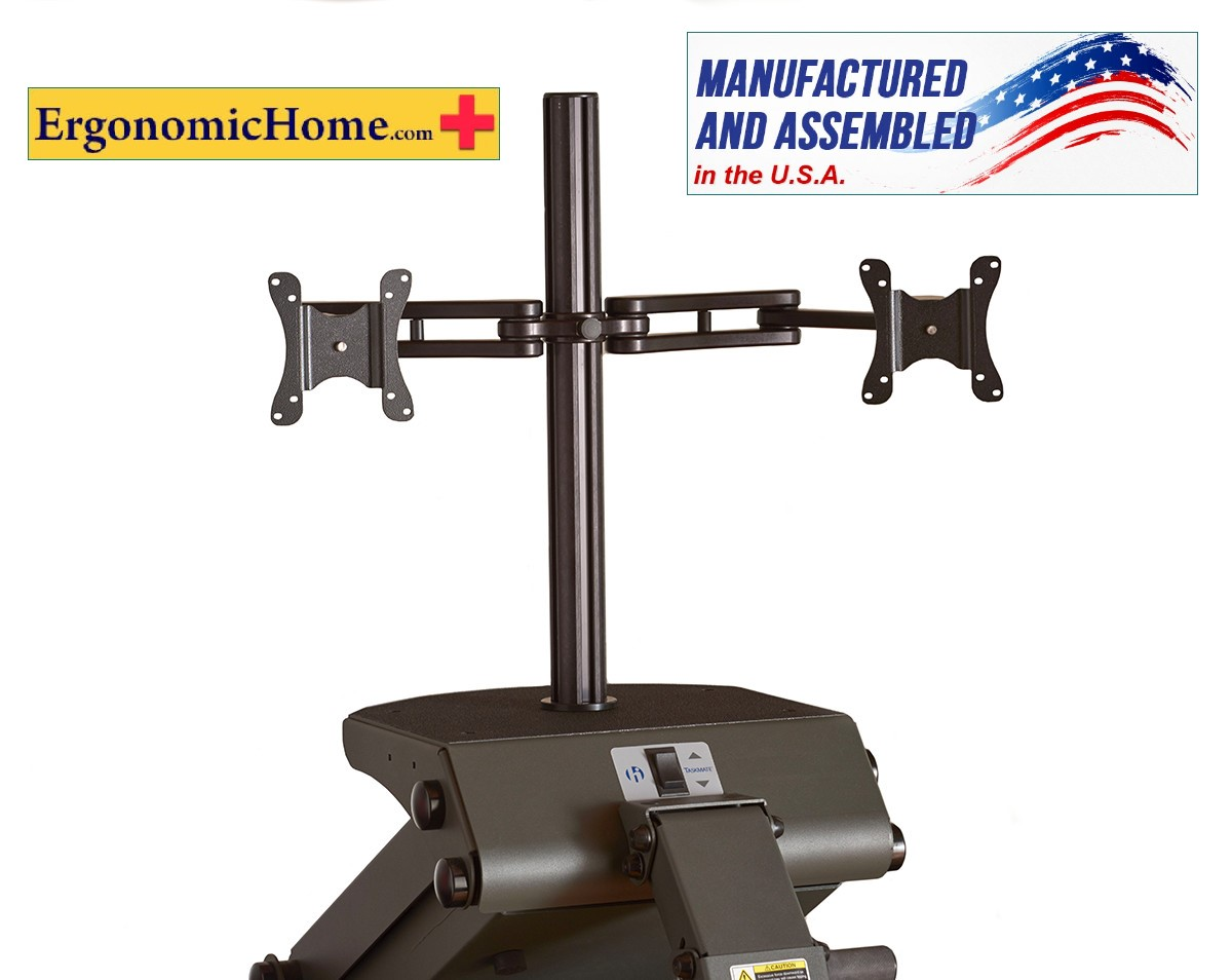 Ergonomic Home Health Postures #6912 Adjustable Dual Monitor Arm | <font color=#c60> 100% Made in USA. BAA (Buy American Act) & TAA (Trade Acts Agreement) Compliant. Read More...</font>