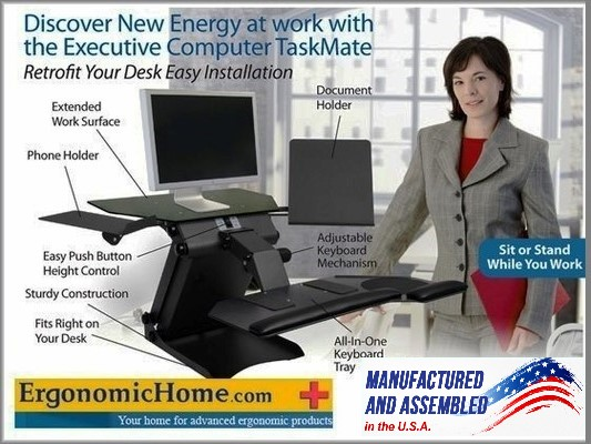 <font color=#c60><b>HEALTH POSTURES TASKMATE SINGLE OR DUAL ELECTRIC ADJUSTABLE MONITOR STAND. 100% MADE IN USA. BAA & TAA COMPLIANT:</font></b>