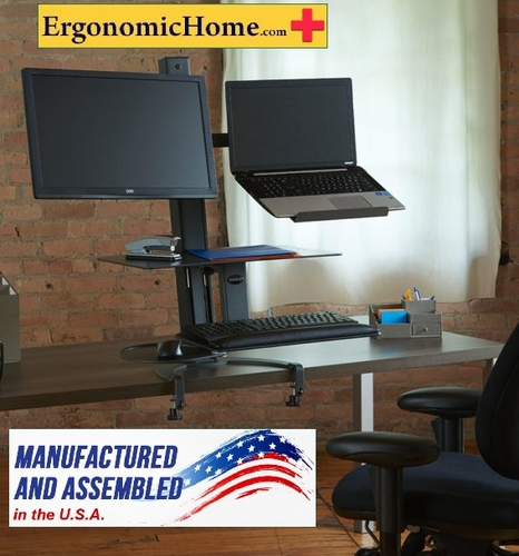 Sit To Stand Workstation Health Postures Go Laptop and Monitor Stand #6360. Made in USA BAA & TAA Compliant: