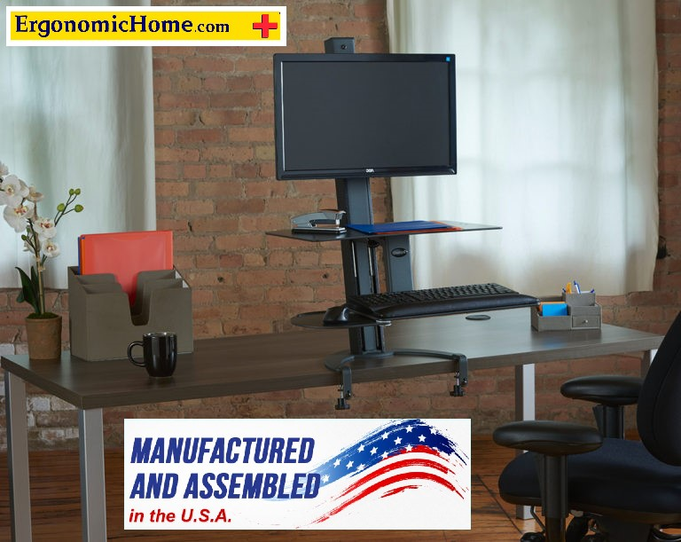 "Health Postures TaskMate Go #6301 Adjustable Sit Stand Desk Mount |  Worksurface (15"" X 23"") Keyboard (13"" X 19"").  <font color=#c60>100% Made in USA. BAA & TAA Compliant. Read More...</font>"