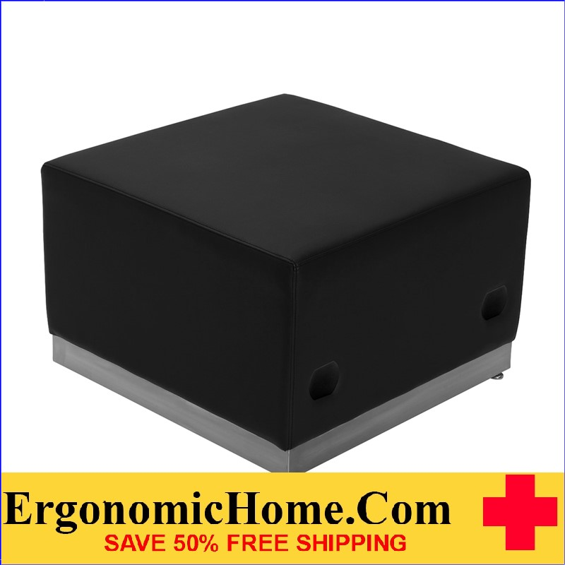 Ergonomic Home TOUGH ENOUGH Alon Series Black Leather Ottoman with Brushed Stainless Steel Base <b><font color=green>50% Off Read More Below...</font></b>