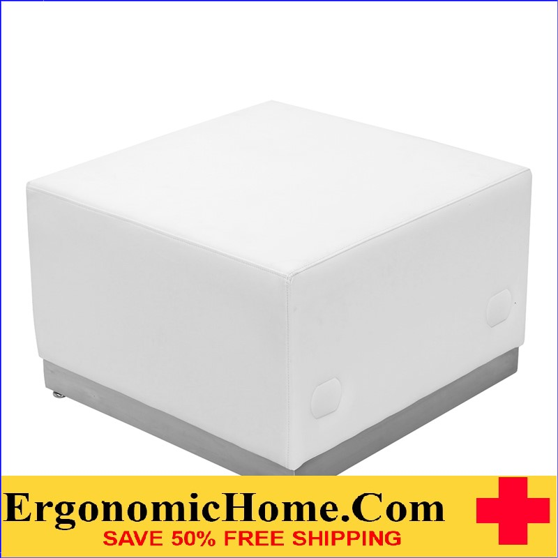 Ergonomic Home TOUGH ENOUGH Alon Series White Leather Ottoman with Brushed Stainless Steel Base <b><font color=green>50% Off Read More Below...</font></b></font></b>