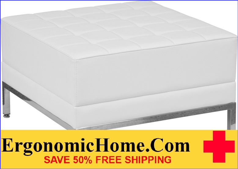Ergonomic Home TOUGH ENOUGH Imagination Series White Leather Ottoman <b><font color=green>50% Off Read More Below...</font></b>