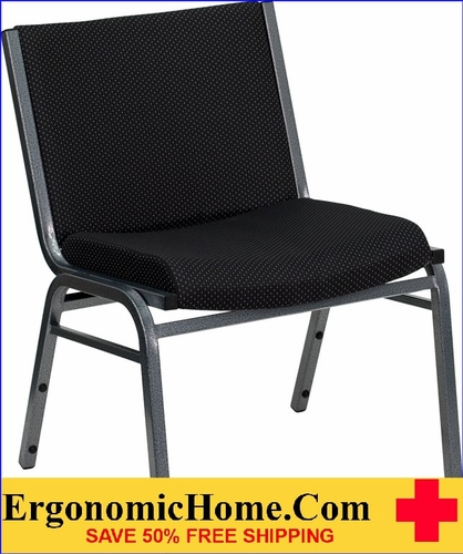 Ergonomic Home TOUGH ENOUGH Series 1000 lb. Capacity Big and Tall Extra Wide Black Fabric Stack Chair | Ganging Chair EH-XU-60555-BK-GG <b><font color=green>50% Off Read More Below...</font></b>