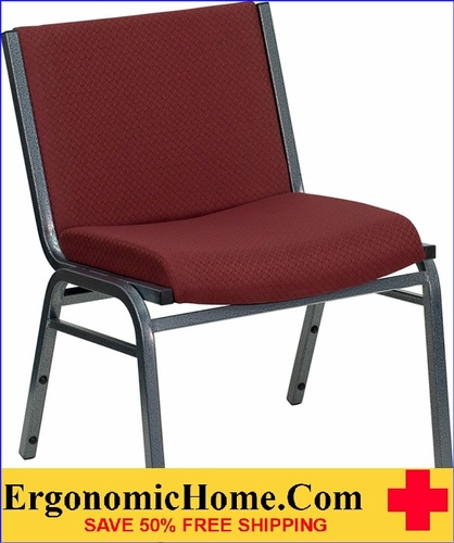 Ergonomic Home TOUGH ENOUGH Series 1000 lb. Capacity Big and Tall Extra Wide Burgundy Fabric Stack Chair | Ganging Chair EH-XU-60555-BY-GG <b><font color=green>50% Off Read More Below...</font></b>