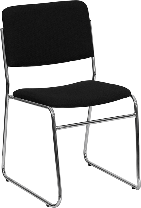 HERCULES Series 1000 lb. Capacity Black Fabric High Density Stacking Chair with Chrome Sled Base