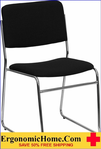 Ergonomic Home TOUGH ENOUGH Series 1000 lb. Capacity Black Fabric High Density Stacking Chair with Chrome Sled Base EH-XU-8700-CHR-B-30-GG <b><font color=green>50% Off Read More Below...</font></b>