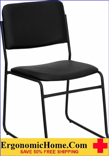Ergonomic Home TOUGH ENOUGH Series 1000 lb. Capacity High Density Black Vinyl Stacking Chair with Sled Base EH-XU-8700-BLK-B-VYL-30-GG <b><font color=green>50% Off Read More Below...</font></b></font></b>