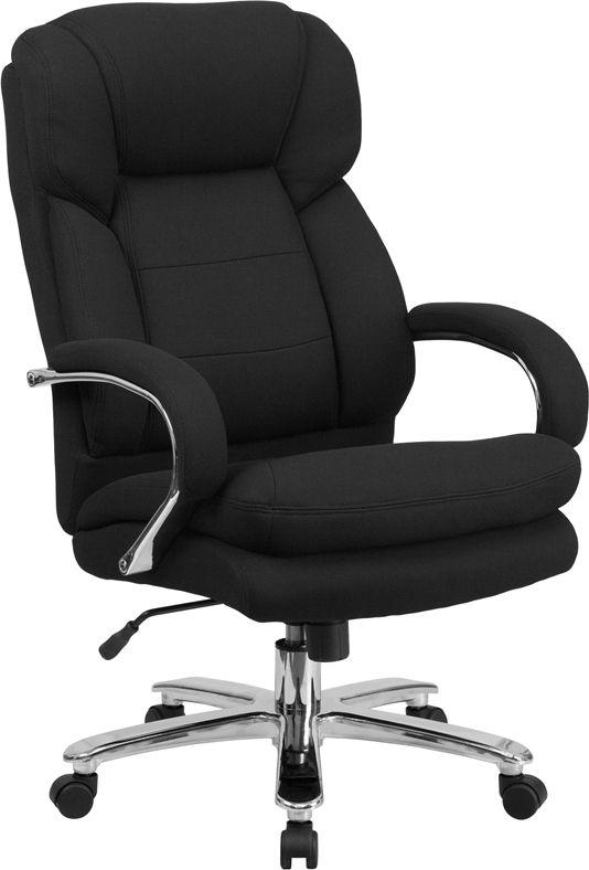 HERCULES Series 24/7 Intensive Use, Multi-Shift, Big & Tall 500 lb. Capacity Black Fabric Executive Swivel Chair with Loop Arms