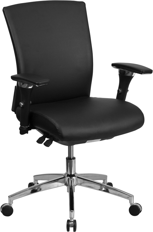 HERCULES Series 24/7 Multi-Shift, 300 lb. Capacity Black Leather Multi-Functional Executive Swivel Chair with Seat Slider