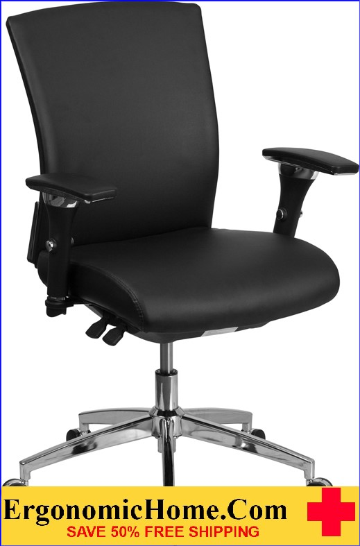 Ergonomic Home TOUGH ENOUGH Series 24/7 Multi-Shift, 300 lb. Capacity Black Leather Multi-Functional Executive Swivel Chair with Seat Slider EH-GO-WY-85-7-GG <b><font color=green>50% Off Read More Below...</font></b>