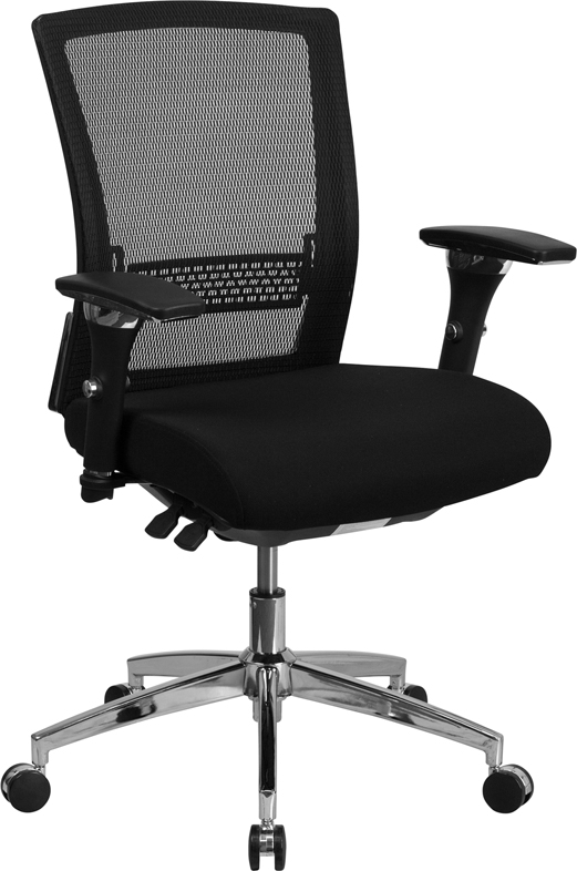 HERCULES Series 24/7 Multi-Shift, 300 lb. Capacity Black Mesh Multi-Functional Executive Swivel Chair with Padded Seat and Seat Slider
