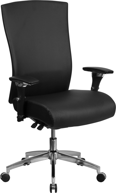 HERCULES Series 24/7 Multi-Shift, 300 lb. Capacity High Back Black Leather Multi-Functional Executive Swivel Chair with Seat Slider