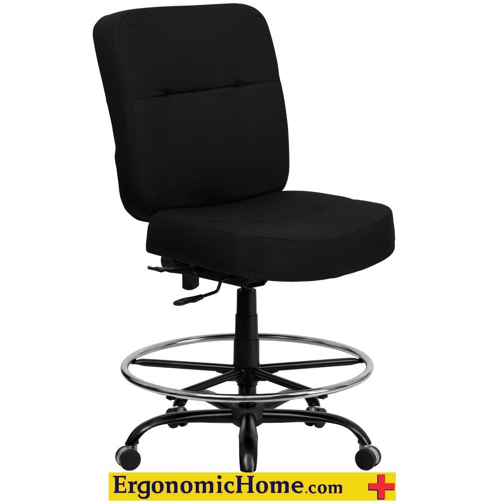 Ergonomic Home Black Fabric Armless Drafting Chair EH-WL-735SYG-BK-D-GG <b><font color=green>50% Off Read More Below...</font></b>