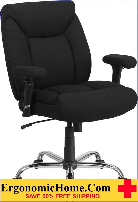 Ergonomic Home TOUGH ENOUGH Series 400 lb. Capacity Big & Tall Black Fabric Swivel Task Chair with Height Adjustable Arms EH-GO-2073F-GG <b><font color=green>50% Off Read More Below...</font></b>