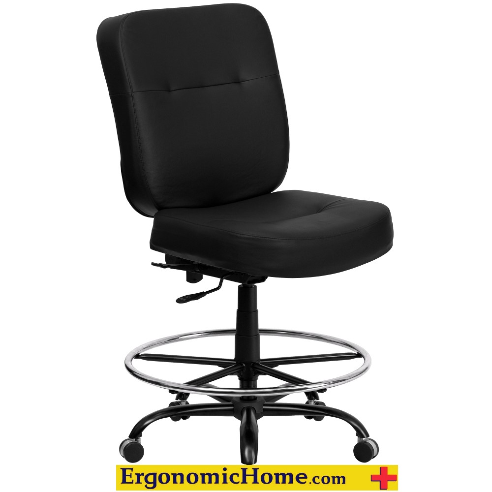 Ergonomic Home Black Leather Drafting Chair
