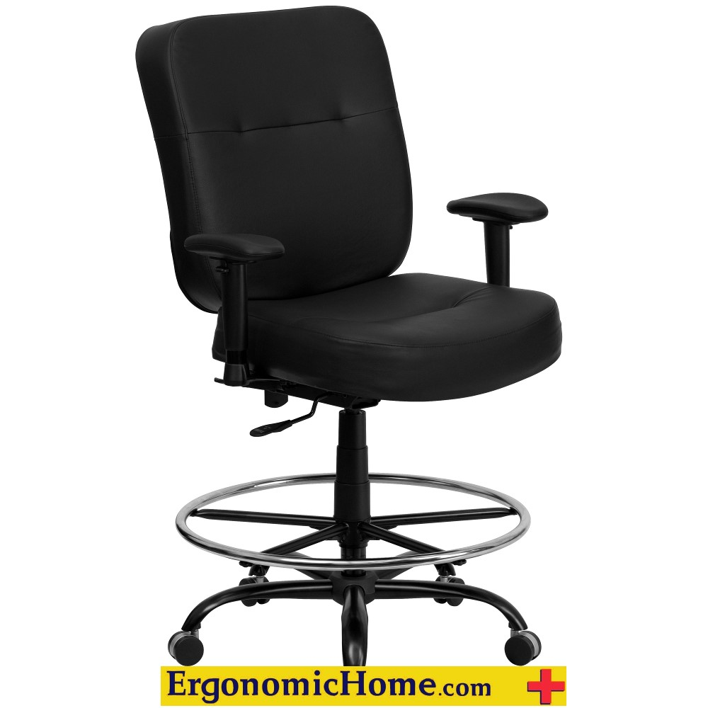 Capacity Big U0026 Tall Black Leather Drafting Chair With Extra ...