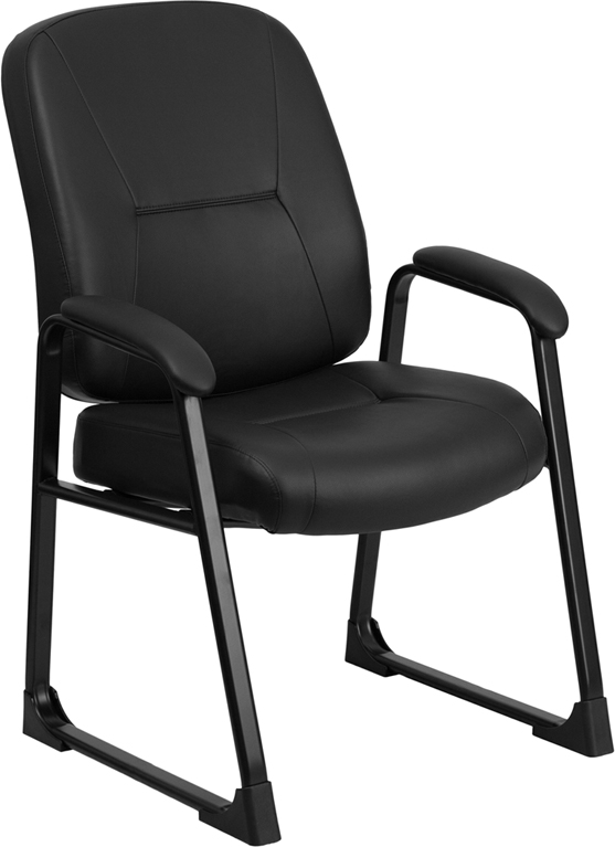 HERCULES Series 400 lb. Capacity Big & Tall Black Leather Executive Side Chair with Sled Base