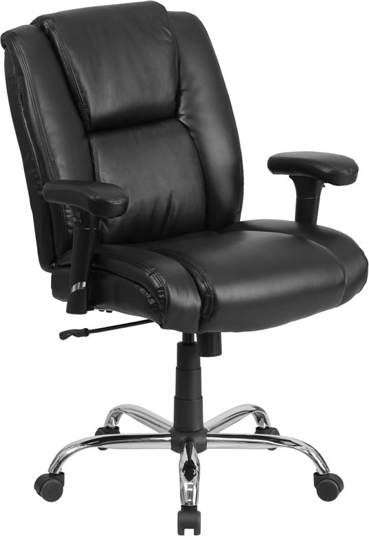 HERCULES Series 400 lb. Capacity Big & Tall Black Leather Swivel Task Chair with Height Adjustable Arms