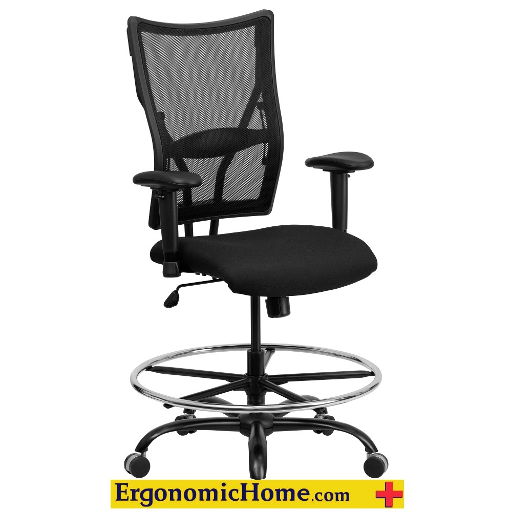 HEAVY DUTY CHAIR 400 lb. Capacity | Big & Tall Black Mesh Drafting Chair with Height Adjustable Arms by ERGONOMIC HOME