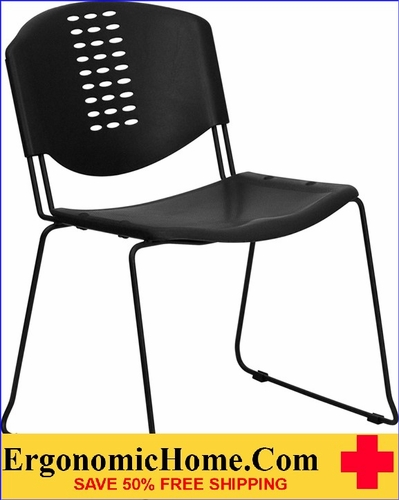 Ergonomic Home TOUGH ENOUGH Series 400 lb. Capacity Black Plastic Stack Chair with Black Frame EH-RUT-NF02-BK-GG <b><font color=green>50% Off Read More Below...</font></b></font></b>