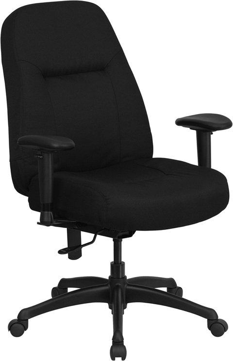 HERCULES Series 400 lb. Capacity High Back Big & Tall Black Fabric Executive Swivel Office Chair with Extra WIDE Seat and Height Adjustable Arms