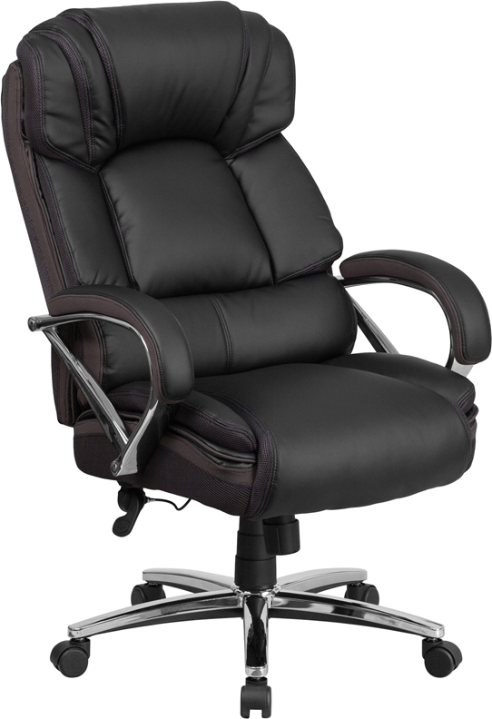 HERCULES Series 500 lb. Capacity Big & Tall Black Leather Executive Swivel Office Chair with Padded Leather Chrome Arms