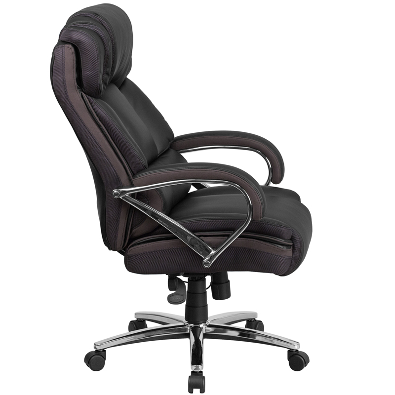 Ergonomic Home Tough Enough Series 500 Lb Capacity Big Tall Black Leather Executive Swivel Office Chair With Padded Chrome Arms Eh Go 2222 Gg 50