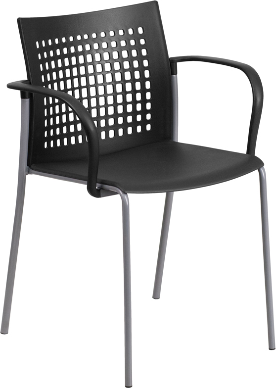 HERCULES Series 551 lb. Capacity Black Stack Chair with Air-Vent Back and Arms
