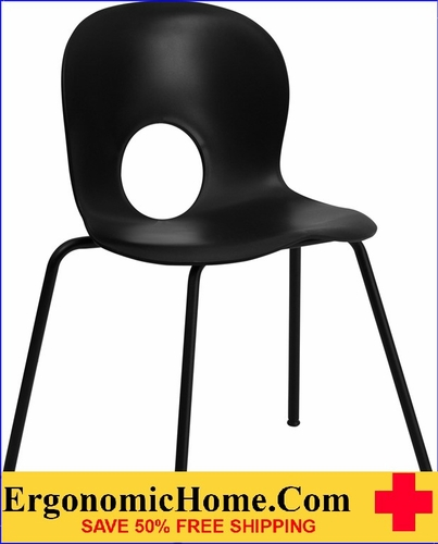 Ergonomic Home Series 770 lb. Capacity Designer Black Plastic Stack Chair with Black Frame EH-RUT-NC258-BK-GG <b><font color=green>50% Off Read More Below...</font></b>