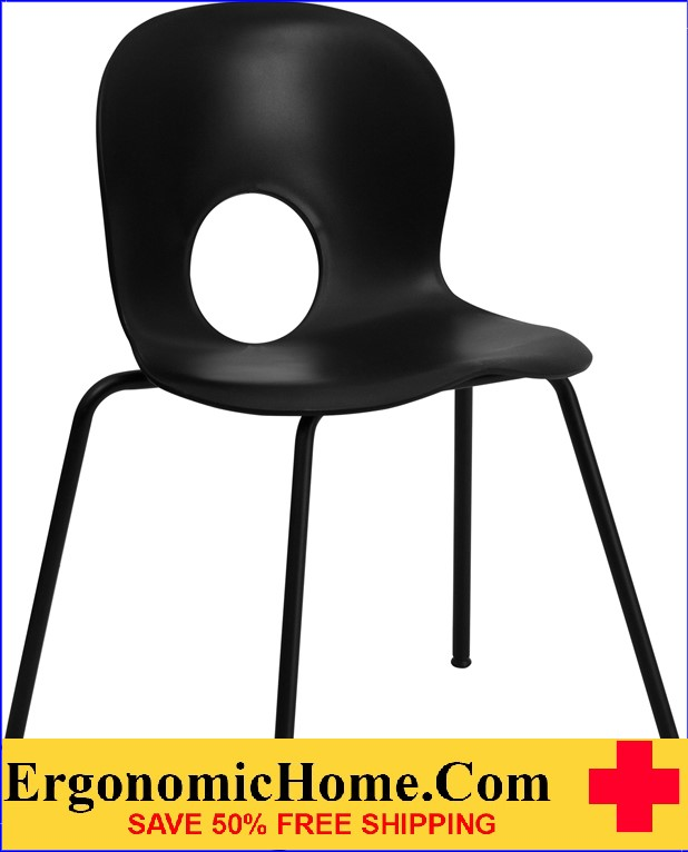</b></font>Ergonomic Home Series 770 lb. Capacity Designer Black Plastic Stack Chair with Black Frame EH-RUT-NC258-BK-GG <b></font>. </b></font></b>