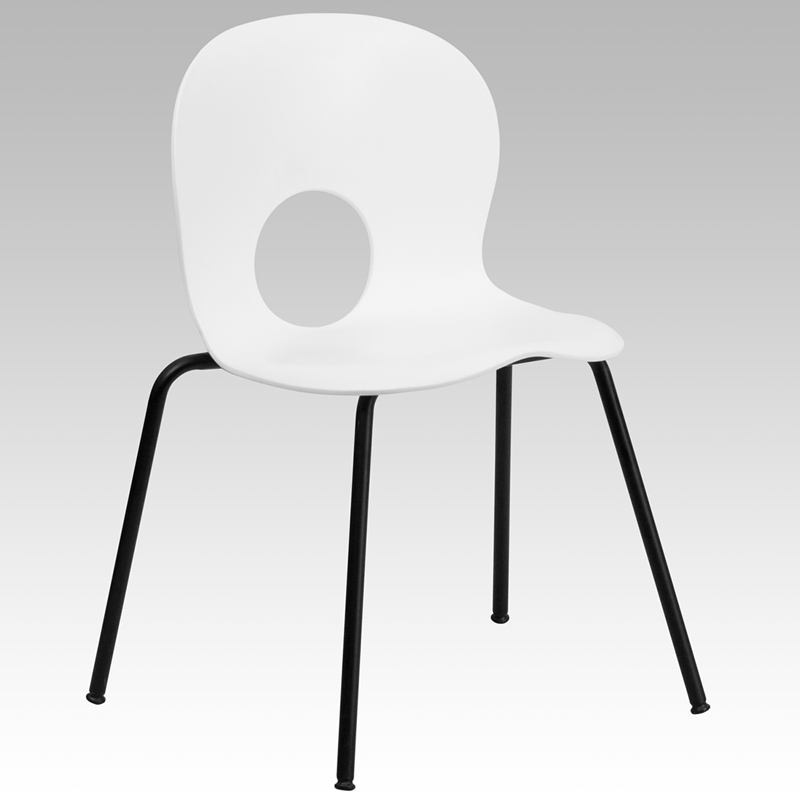 Ergonomic Home Series 770 lb. Capacity Designer White Plastic Stack Chair with Black Frame EH-RUT-NC258-WHITE-GG <b><font color=green>50% Off Read More Below...</font></b>