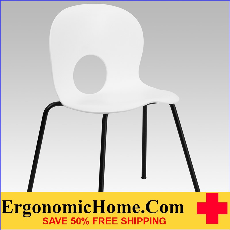</b></font>Ergonomic Home Series 770 lb. Capacity Designer White Plastic Stack Chair with Black Frame EH-RUT-NC258-WHITE-GG <b></font>. </b></font></b>