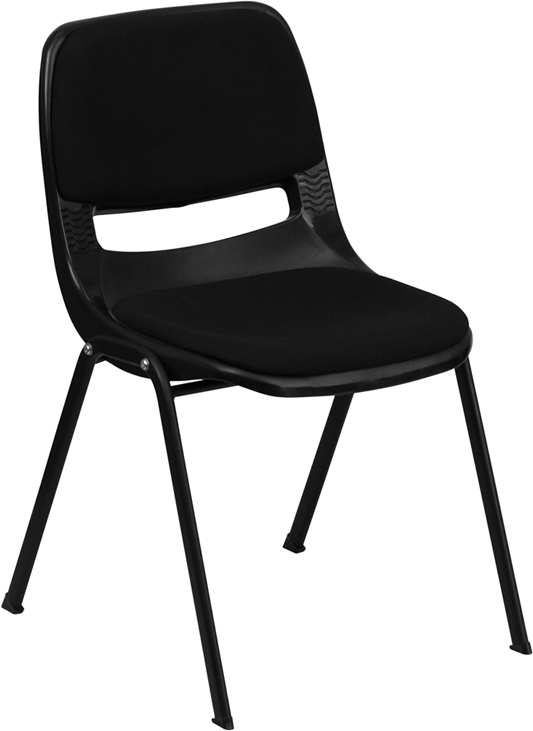 ERGONOMIC HOME TOUGH ENOUGH Series 880 lb. Capacity Black Ergonomic Shell Stack Chair with Padded Seat and Back