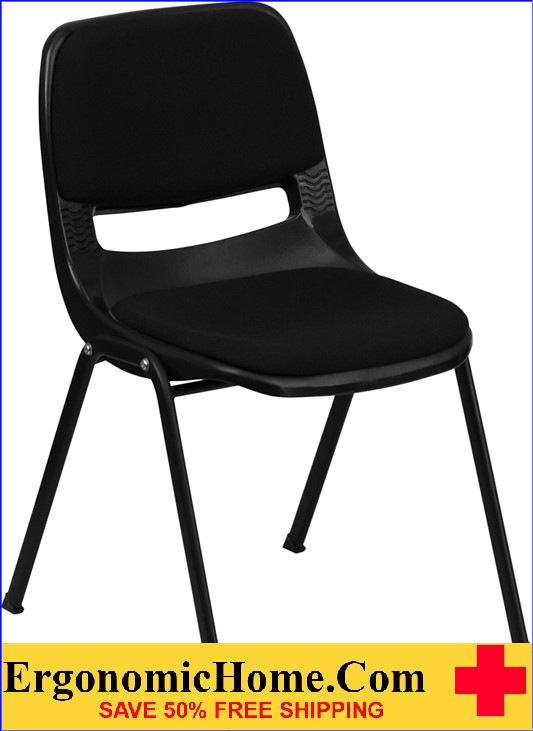 </b></font>ERGONOMIC HOME TOUGH ENOUGH Series 880 lb. Capacity Black Ergonomic Shell Stack Chair with Padded Seat and Back EH-RUT-EO1-01-PAD-GG <b></font>. </b></font></b>