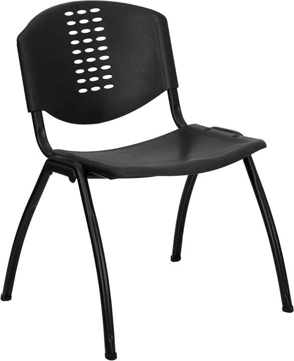 Ergonomic Home TOUGH ENOUGH Series 880 lb. Capacity Black Plastic Stack Chair with Black Frame EH-RUT-NF01A-BK-GG <b><font color=green>50% Off Read More Below...</font></b>