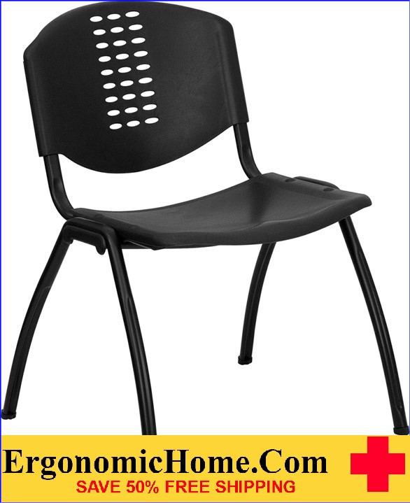 </b></font>Ergonomic Home TOUGH ENOUGH Series 880 lb. Capacity Black Plastic Stack Chair with Black Frame EH-RUT-NF01A-BK-GG <b></font>. </b></font></b>