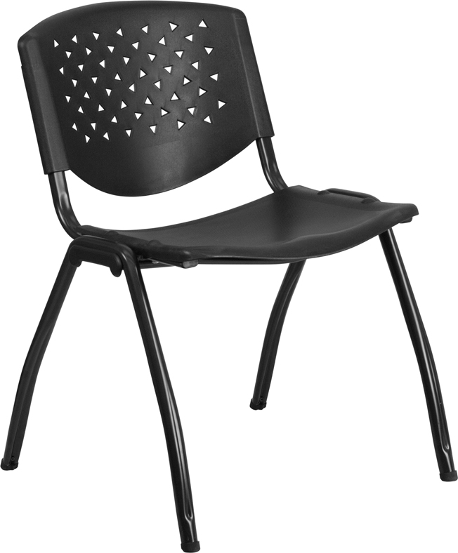 HERCULES Series 880 lb. Capacity Black Plastic Stack Chair with Titanium Frame #EHRUT-F01A-BK-GG