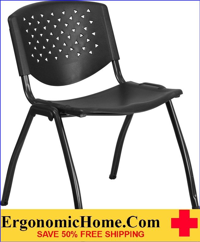 </b></font>ERGONOMIC HOME TOUGH ENOUGH Series 880 lbs Capacity Black Plastic Stack Chair with Titanium Frame EH-RUT-F01A-BK-GG <b></font>. </b></font></b>