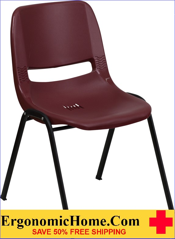 </b></font>Ergonomic Home TOUGH ENOUGH Series 880 lb. Capacity Burgundy Ergonomic Shell Stack Chair EH-RUT-EO1-BY-GG <b></font>. </b></font></b>