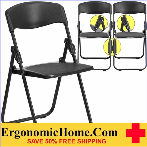 Ergonomic Home TOUGH ENOUGH  Series 880 lb. Capacity Heavy Duty Black Plastic Folding Chair with Built-in Ganging Brackets EH-RUT-I-BLACK-GG <b><font color=green>50% Off Read More Below...</font></b></font></b>&#x1F384<font color=red><b>ERGONOMICHOME HOLIDAY SALE</b></font>&#x1F384