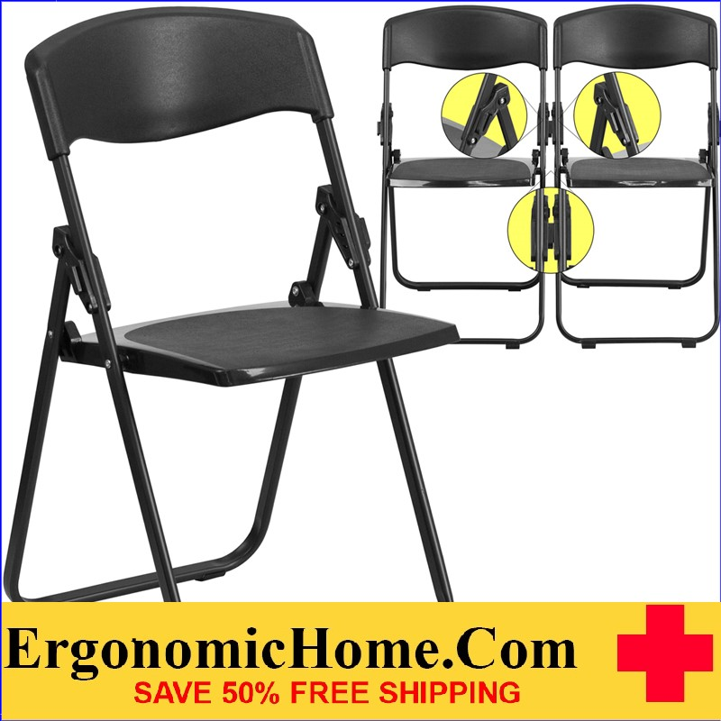 </b></font>Ergonomic Home TOUGH ENOUGH  Series 880 lb. Capacity Heavy Duty Black Plastic Folding Chair with Built-in Ganging Brackets EH-RUT-I-BLACK-GG <b></font>. </b></font></b>