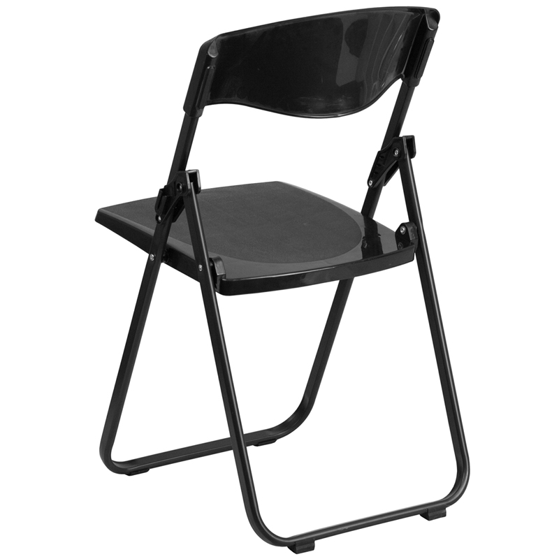 Capacity Heavy Duty Black Plastic Folding Chair With Built In Ganging  Brackets
