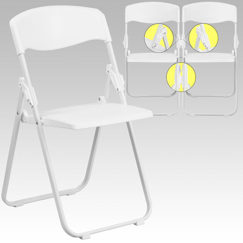 Ergonomic Home Series 880 lb. Capacity Heavy Duty White Plastic Folding Chair with Built-in Ganging Brackets EH-RUT-I-WHITE-GG <b><font color=green>50% Off Read More Below...</font></b>