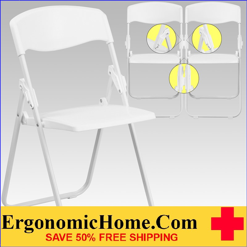 </b></font>Ergonomic Home Series 880 lb. Capacity Heavy Duty White Plastic Folding Chair with Built-in Ganging Brackets EH-RUT-I-WHITE-GG <b></font>. </b></font></b>